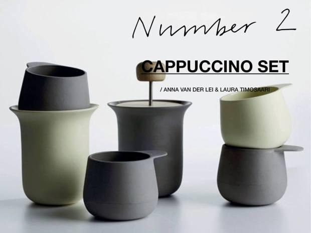 Anna van der Lei and Laura Timosaari har designet dette anderledes cappuccino sæt. Smuk måde at drikke kaffe på.