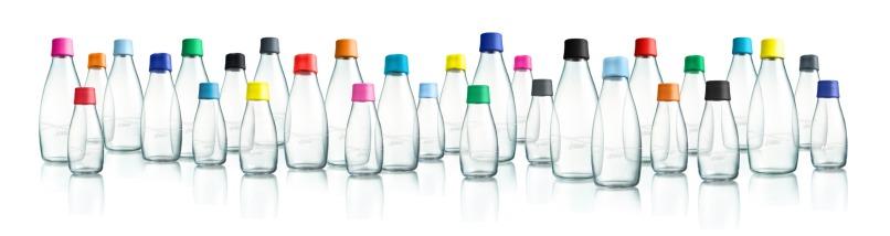 Lækre vandflasker i glas fra Retap.